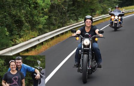 Jina Church and her husband Brian riding their Harley-Davidson motorcycles