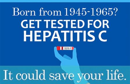 Graphic urging people born between 1945-1965 to be tested for hepatitis C