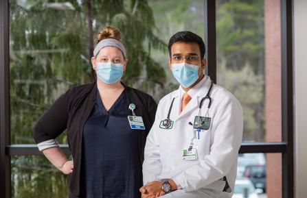 Mary Pierce, RN, Infection Preventionist and Aalok Khole, MD, director of Cheshire's Department of Infectious Diseases.