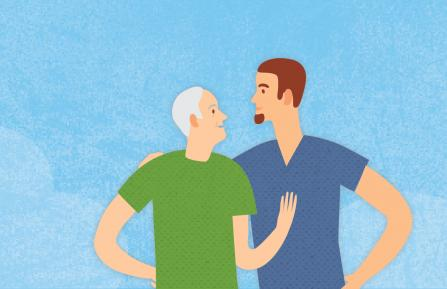 Illustration of father and son talking about father's care