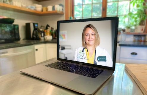 Doctor seeing patient through video conference on computer