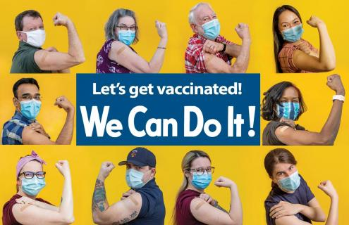 "Photos of Keene-area vaccine recipients surrounding the text ""Let's get vaccinated! We Can Do It!"""