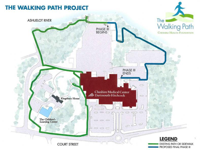 Map of Cheshire Medical Center Walking Paths